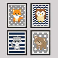 Woodland Animals, CUSTOMIZE YOUR COLORS, 8x10 Prints, set of 4, nursery decor, Fox Owl Raccon Bear Chevron nursery print art baby room decor