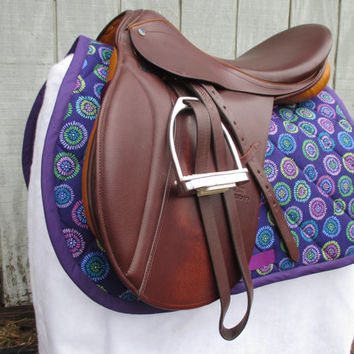 English All-Purpose Saddle Pad:  Purple Circle Bursts