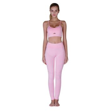 Fitness Yoga Set New Pink Solid Crop Top+Long Pant leisure Women Suit Gym Sports Bra+Legging Two Piece Set Sportswear New