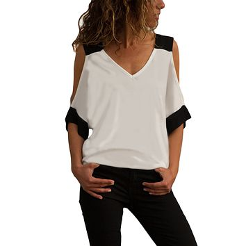 Z| Chicloth White Black Color Block Cold Shoulder Top