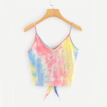 Tie Dye Knotted Cami Top
