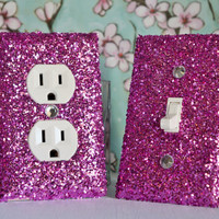 SET OF CHUNKY PINK Glitter Switch Plate Outlet Covers ALL Styles Available!