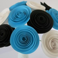 "White, Black & Aqua Blue 1.5"" Paper Flower bouquet 12 roses Bridal floral arrangement Valentines Gift"