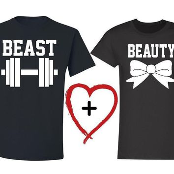 2017 New Beauty and the Beast Letter Print Couple Women Men Tshirts Cotton Casual t Shirt For Lady Top Tee Hipster Tumblr Black
