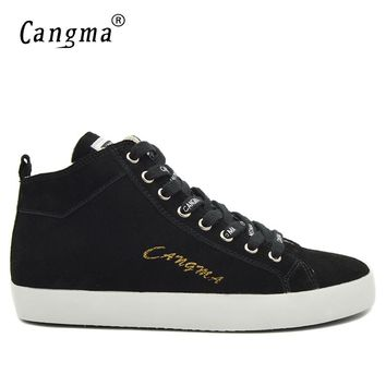 CANGMA Italy Marque Man Casual Shoes Autumn Men Sneakers Lace Up Black Cow Suede Footwear Male Genuine Leather Mid Leisure Shoes