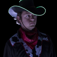 Black Light Up Cowboy Hat