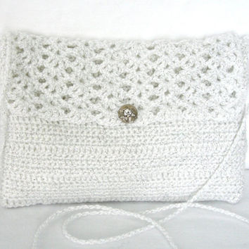Crocheted White Evening Bag With Rhinestone Button Satin Lining and Long Thin Shoulder Cord Custom Orders Welcome