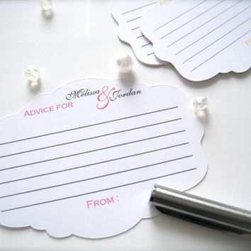 Advice for the bride and groom cards,best wishes cards, wedding comment cards - 25 cards