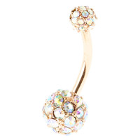 Rainbow Rose Gold Belly Button Ring