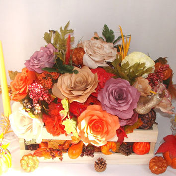 Fall Wedding Centerpiece, Fall Bridal Decoration, Silk flowers, Fake flower decor, home decor, Coffee filter paper decor, floral arrangement