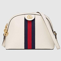 Gucci New Women Fashion Stripe Leather Handbag Shoulder Bag Crossbody Satchel Whtie