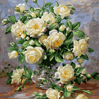 Chinese Rose Frameless Picture Painting By Numbers Oil Painting DIY Digital Canvas Oil Painting Home Decor For Living Room G439