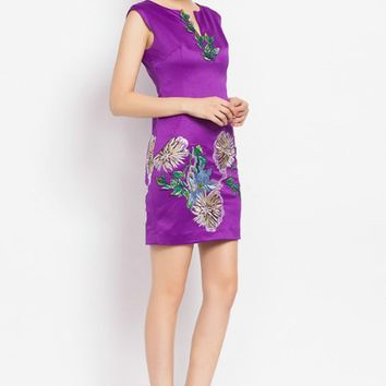 Posh Girl Embroidered Satin Sheath Dress