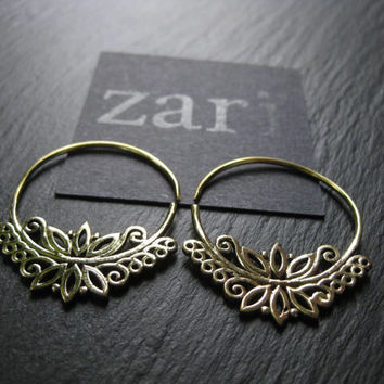 Solid Brass Hoop Earrings  . Organic Filigree Flower Design . Threader Spiral Earrings . FREE SHIPPING Canada