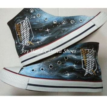CREYUG7 Attack on Titan Anime Converse Custom Painted Hi Top Canvas Attack on Titan Shoes Conv