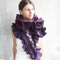 Luxury blackberry scarf shawl extra long purple felted scarf