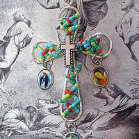 Handmade Beaded Catholic Cross Pendant, Crucifixion Medal, Lady of Guadalupe, Lady of Grace, Colored Picture, Easter Jewlery