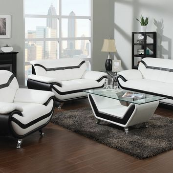 2 pc Rozene collection modern style black and white bonded leather upholstered sofa and love seat set
