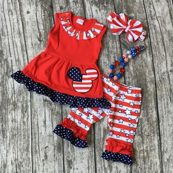 Minnie Mouse July 4th Outfit W/Necklace and Bow