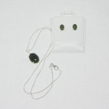 Natural Jade - Nephrite Jade Necklace & Earrings Cabochon Set In Sterling Silver