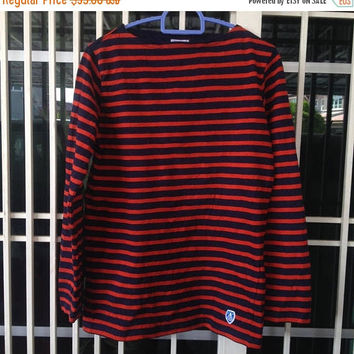 sale 25% ORCIVAL breton stripe long sleeve / fisherman style shirt