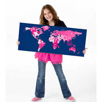 SALE Hot Pink + Navy Giant World Map Fine Art Poster + Print to Match