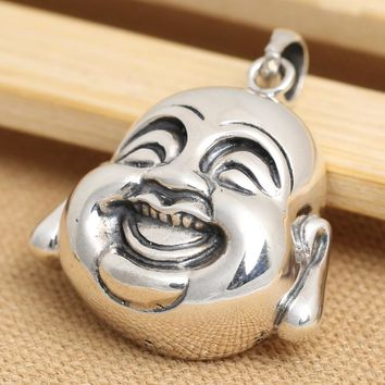 Handcrafted 925 Silver Tibetan Laughing Buddha Head Pendant vintage sterling silver Happy Buddha Pendant Lucky