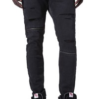 Stacked Skinny Zipper Destroyed Jeans - Mens Jeans - Black