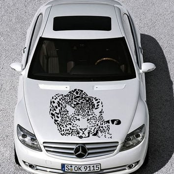 Vinyl Decal Sticker for Car Hood  fits any Auto Vehicle Animal  Cat Cheetah Leopard Animal TK6 In 25 Colors