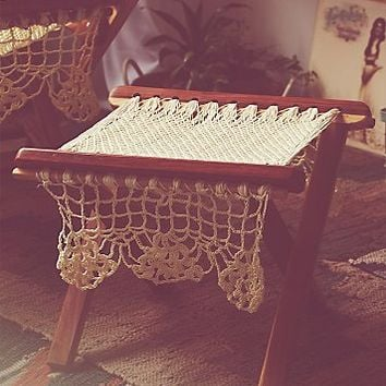 Womens Wooden Ottoman With Macrame