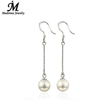2016 Luxury Senior Long Imitation Pearl Beads Stud Earrings For Women Ear Hook Jewelry fits School Prom Accessories