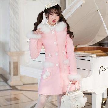 Princess sweet lolita coat The little girl winter wool coat sweet candy rain long sleeved in slim woolen coat women C22CD7284