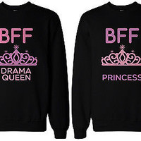 Cute Matching BFF Sweatshirts for Best Friends Drama Queen and Princess