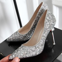 Ladies shoes Red bottom high heels Party Sexy women shoes Slip on Thin Heels Pointed Toe silver 2016 Golden wedding shoes