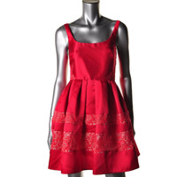 ABS by Allen Schwartz Womens Lace Overlay Pleated Cocktail Dress