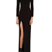 Black Long Sleeve Cut-Out Back with High Side Slit Maxi Dress