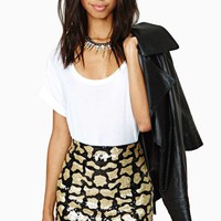 Far Out Feline Sequin Skirt