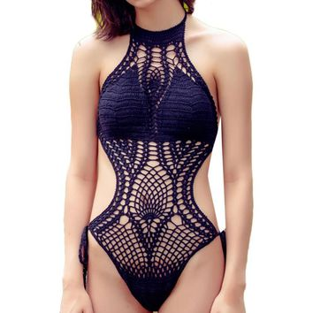 New Floral Crochet One-piece Bikini Bathing Suit