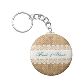 Burlap Delicate Lace -Maid of Honor- Shabby Chic Basic Round Button Keychain