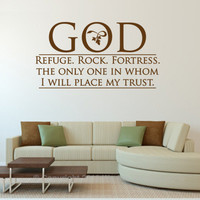 Religious Decals. God-Refuge.Rock.Fortress.-  CODE 061