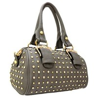 Gorgeous Buckles Bling Rhinestone & Stud Purse Top Handle Bag w/ Shoulder Strap Gray