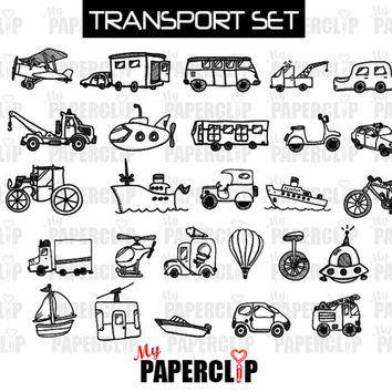 Hand-Drawn Transportation Clip Art Set, Digital Images for Scrapbooking and Cardmaking DD007
