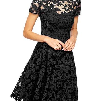 Zeagoo Women's Short Sleeve Crew-neck Sexy Lace Zipper Summer Dress
