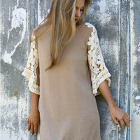 Khaki Floral Lace Sleeve Fringed Dress