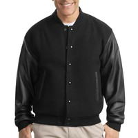 Port Authority Wool and Leather Letterman Jacket.  J783