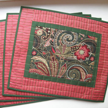 Quilted Placemats - Christmas Paisley - Set of 4