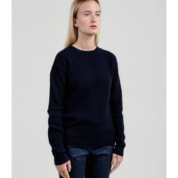 Fisherman's Rib Merino Sweater - Navy