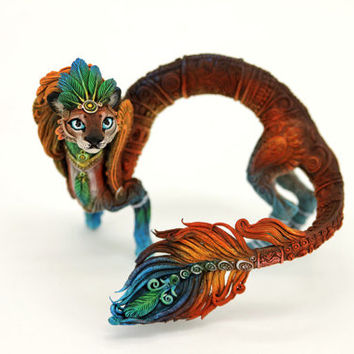 Cat Eastern Dragon OOAK Figurine Fantasy Spirit Elemental Dragon Sculpture Fantasy Animal Creature