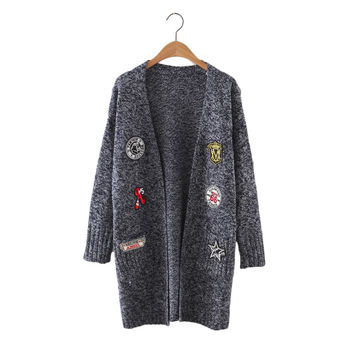 Women cute pattern patch long cardigan long sleeve warm open stitch autumn winter female streetwear elastic knitted tops SW1042