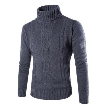 Sweater Pullover Men Male Long Brand Casual Slim Sweaters Men Solid High Lapel Jacquard Hedging Men'S Sweater